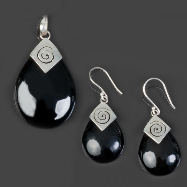 Ohrringe Ohr Hänger Anhänger Onyx 925 Silber Set schwarz SH63