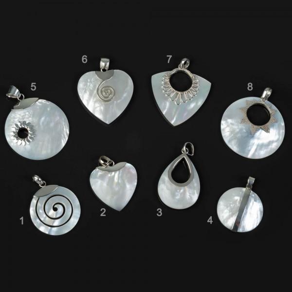 925 Silber Anhänger Perlmutt handgefertigt Muschel Halskette Herz Spirale AS30a