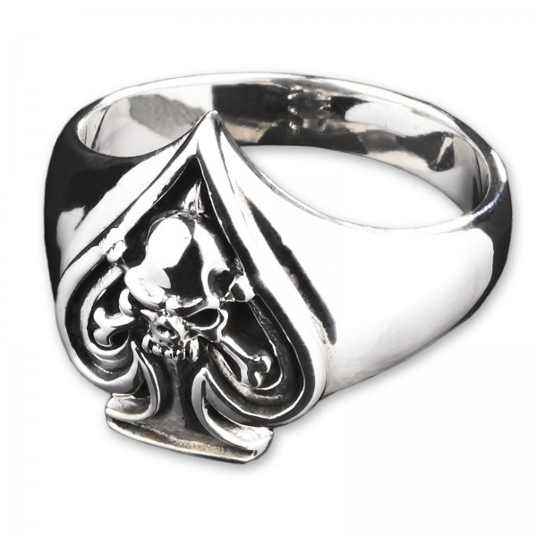 925 Silber Ring Totenkopf Pik Poker Rockabilly Biker Siegel Ring Skull SR25