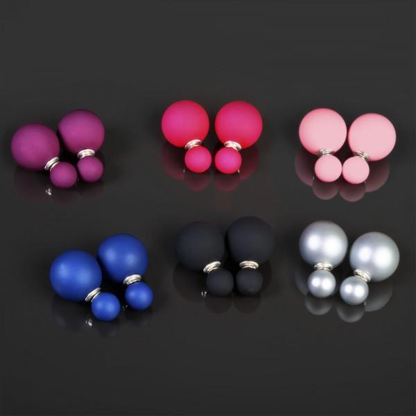 Ohr Stecker XXL Doppel Perlen 925 Silber Ohrringe Doppel Perle Matt WS58
