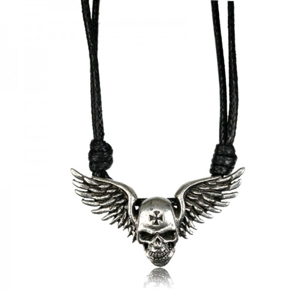 Herren Halskette Messing Anhänger Silber Totenkopf Flügel Eisernes Kreuz HK35