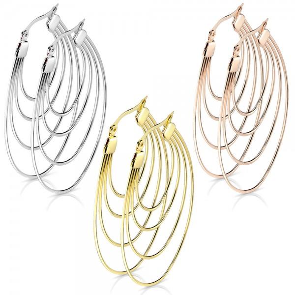 Edelstahl Creolen Damen Ohrringe Oval Rosegold Silber groß Klappcreolen W1a