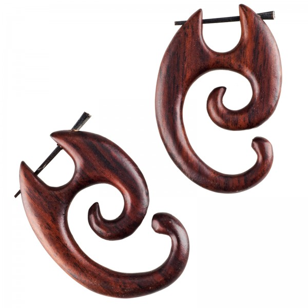 1 Paar Holz Ohrringe Creolen Sono Holz Horn Pin Sono Holz Tribal CC459