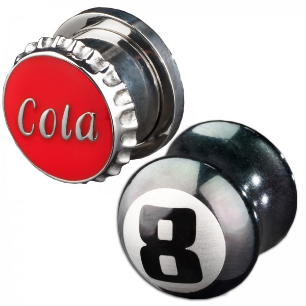 3-14mm Plug Flesh Tunnel Stahl Kronkorken Cola Design Eight Ball 8er Ball Z110