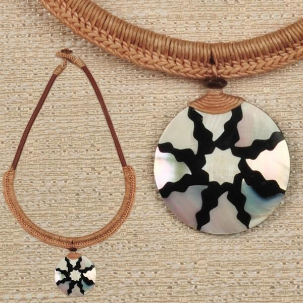 Halskette Kette Muschel Anhänger Perlmutt Amulett Naturschmuck HK7