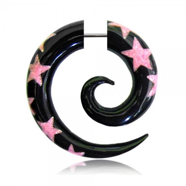 Fake Spirale Horn Sterne Pink Fake Piercing Ohrstecker OhrringE Fake Plug Z233