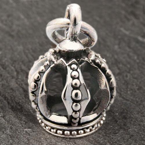 925 Silber Ketten Anhänger Krone König Crown Halskette 3D Biker AS12a