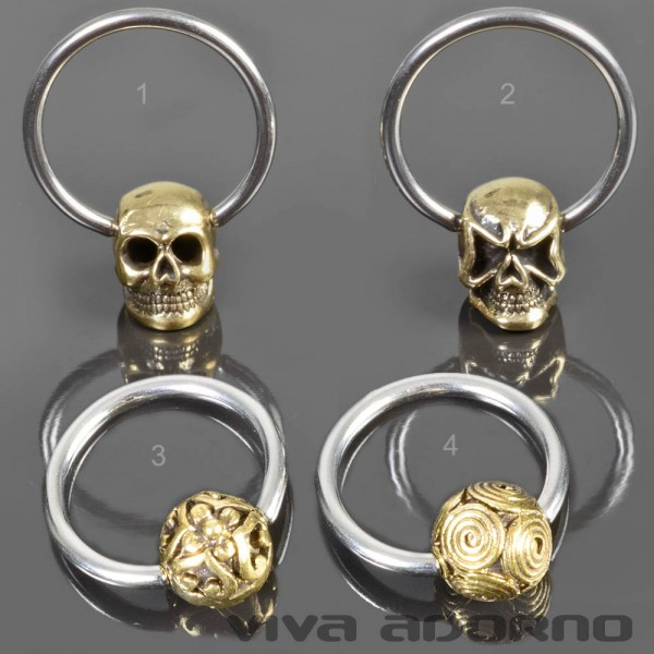 BCR Klemmring Vintage Totenkopf Brust Piercing Ohr Nippel Ring Messing Z469