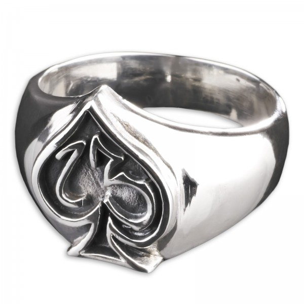 925 Silber Ring Lucky 13 Dreizehn Pik Poker Rockabilly Biker Siegel Ring SR24