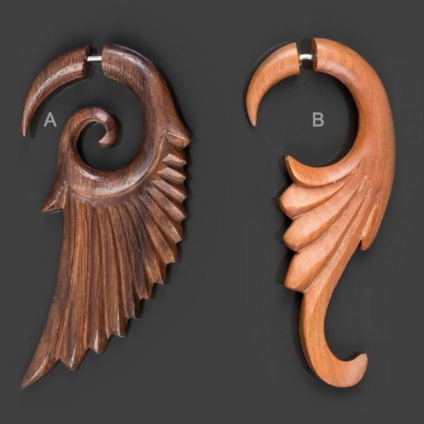 Fake Spirale Flügel geschnitzt Holz Ohr Piercing OhrringE Engelsflügel CC40
