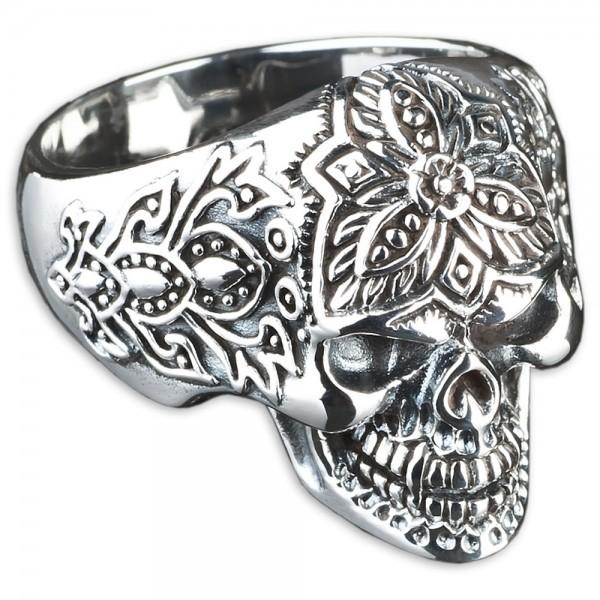 925 Silber Ring Totenkopf Skull Tattoo Tribal Biker Blumen Gothic Rock SR19