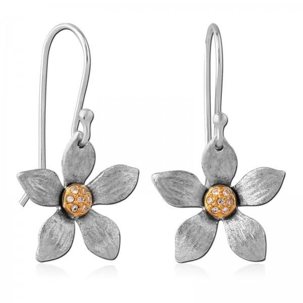Ohrringe 925 Silber Ohrhänger Blüten Blumen matt mattiert Zirkonia Blume Z534