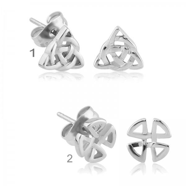 1 Paar Ohr Stecker Knoten keltisch Kleeblatt Edelstahl Ohrringe Z217