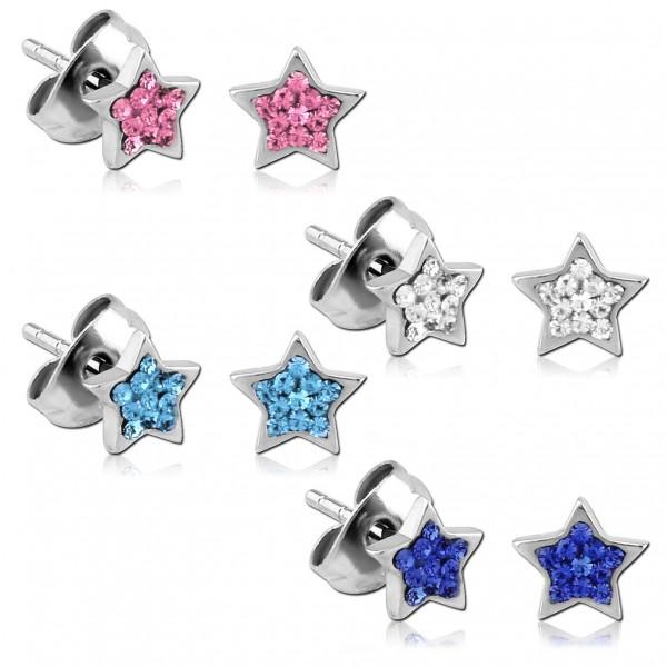 1 Paar Ohrstecker Sterne Zirkonia Strass Rockabilly Edelstahl Ohrringe Star Z221