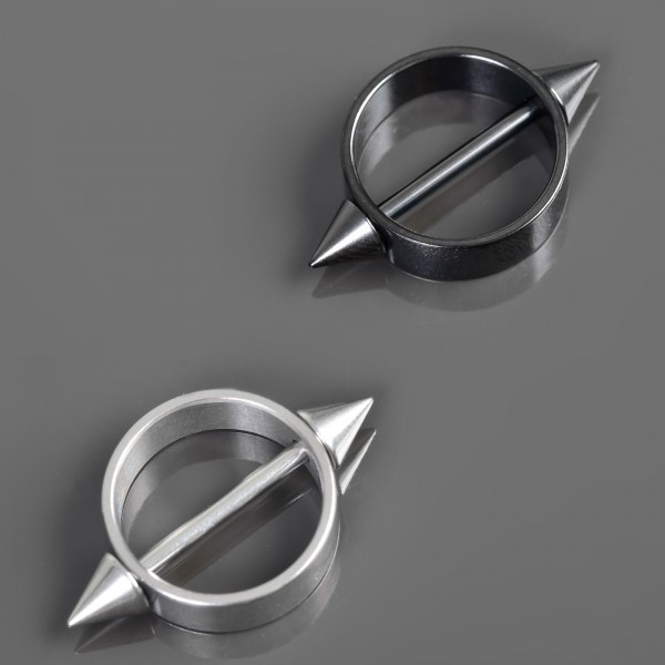 Brust Piercing Nippel Piercing Shield Spikes Schild Spitzen Barbell Hantel Z480