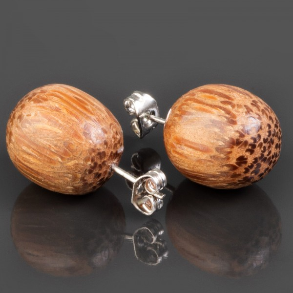 1 Paar Ohr Stecker Kugeln Palmholz Holz Ohrringe Edelstahl Kokos Kugel WS5a