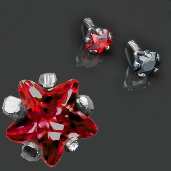 1,2mm Dermal Anchor Stern Zirkonia Kristall Aufsatz Gewinde Anker Blüte Z183