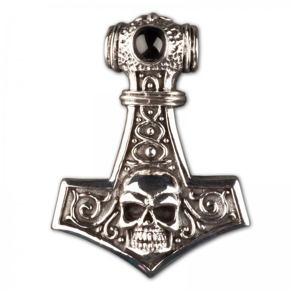 925 Silber Anhänger Thorshammer Mjölnir Totenkopf Thor Hammer Skull Biker AS23a