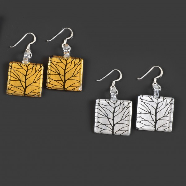 Edle Echtglas Ohrringe 925 Silber Glas Quadrat Baum Ohrhänger quadratisch GE15