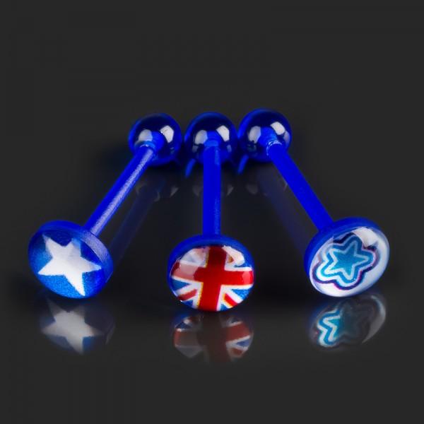 1,6 x 16 mm Motiv Zungen Piercing Bioflex Barbell Hantel blau Acryl Logo Z386