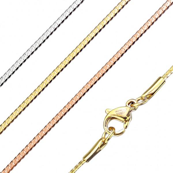 Edelstahl Herren Damen Kette Panzerkette Goldkette 43,5cm Länge Halskette HK44
