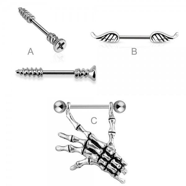 1,6mm Brust Piercing Barbell Nippel Piercing Hantel Gothic Schnurrbart Z445
