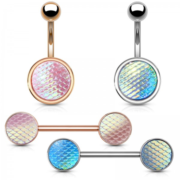 Bauchnabel Piercing Brustpiercing Fischschuppen holografisch schillernd Z536