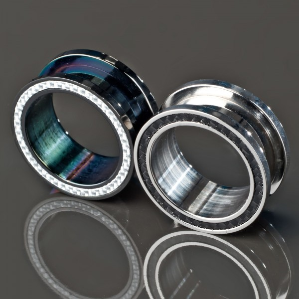 4-20mm Flesh Tunnel Plug Stahl Carbon Karbon Z141