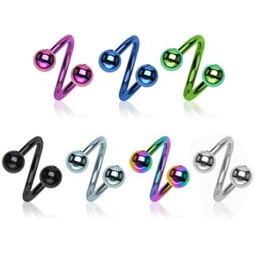 1,2mm Lippen Piercing Labret Spirale Twist Doppel Kugel Ohr Titan Twister Z400