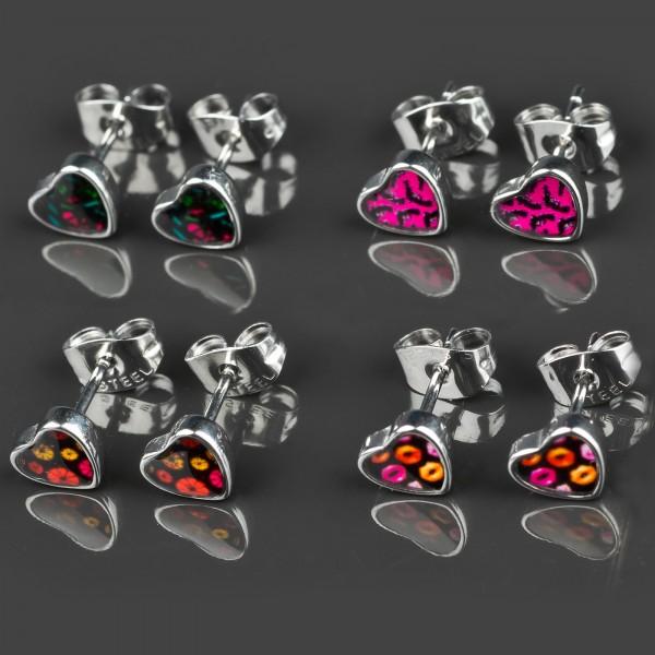 1 Paar Ohr Stecker Herzen Rockabilly Edelstahl Ohrringe Herz Totenkopf Z361