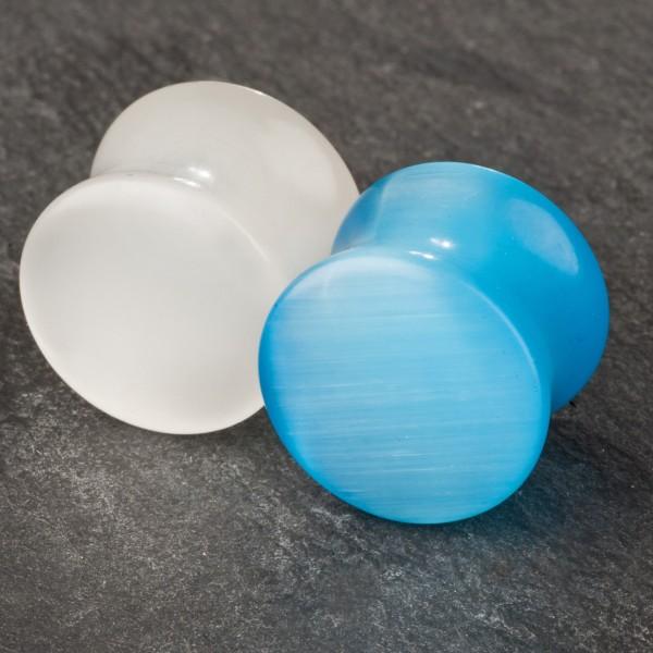 3 -14mm Flesh Tunnel Plug Pyrex Glas Perlmutt Blau Weiß Ohr Piercing Z18