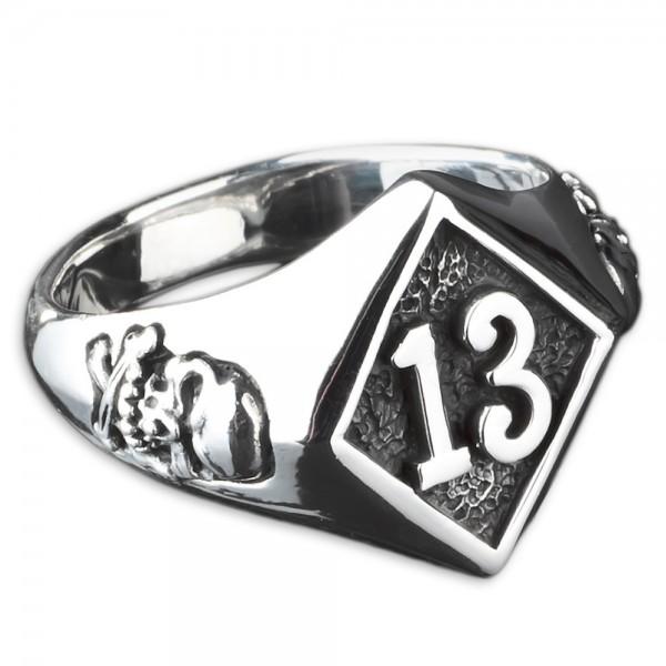 925 Silber Siegel Ring Lucky 13 Dreizehn Totenkopf Skull Rockabilly Biker SR23
