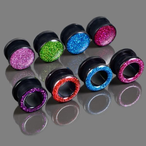 3-24mm Flesh Tunnel Plug Glitter Glitzer Acryl Schraubtunnel Ohr Piercing AR879