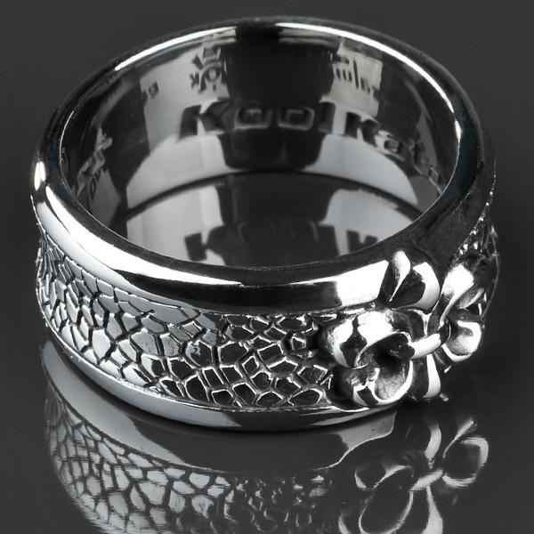 KoolKatana Edelstahl Ring Lilie Drachen Haut Gothic Fingerring Biker silber RS29