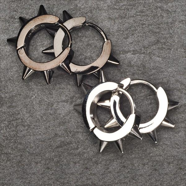 Edelstahl Creolen Ohrringe Spitzen Silber Schwarz ER6