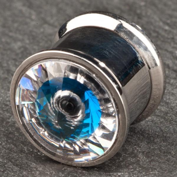 Flesh Tunnel Plug Blau Auge Blue Eye Zirkonia Kristall 6-12mm Z28