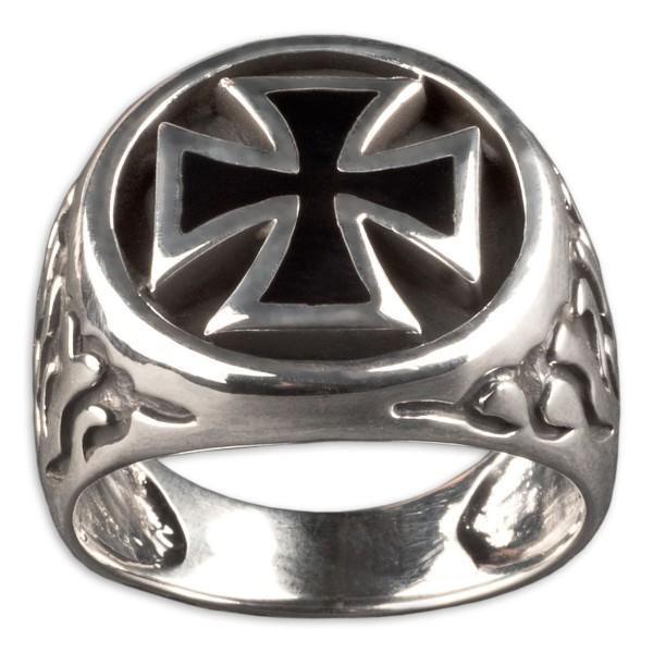 Siegel Ring Daumenring Eisernes Kreuz Biker 925 Silber Ring Iron Cross SR12