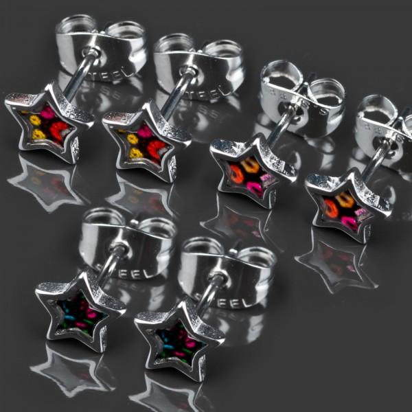 1 Paar Ohr Stecker Sterne Rockabilly Edelstahl Ohrringe Z365