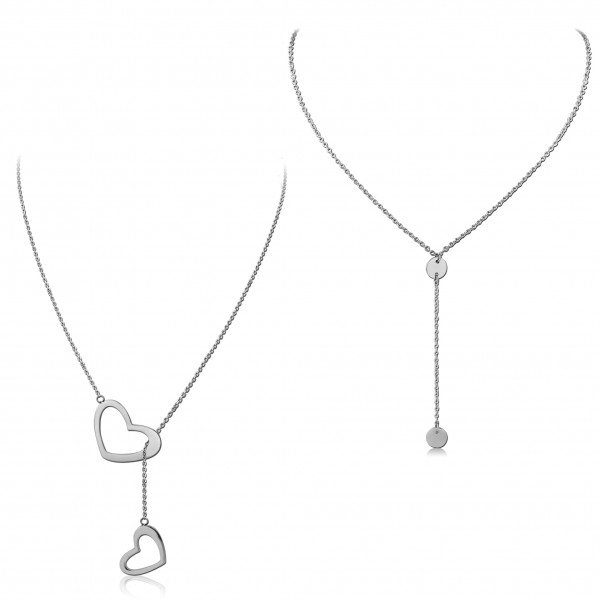 Y Kette Edelstahl Coin Plättchen Halskette Herz Anhänger Silber Lasso HK45