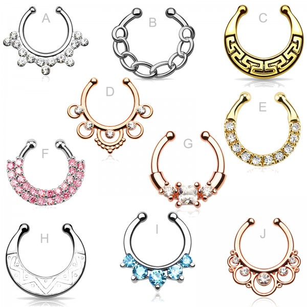 Fake Nasenpiercing Nasenring Septum Piercing Clicker Clip On Kristall Helix Z499