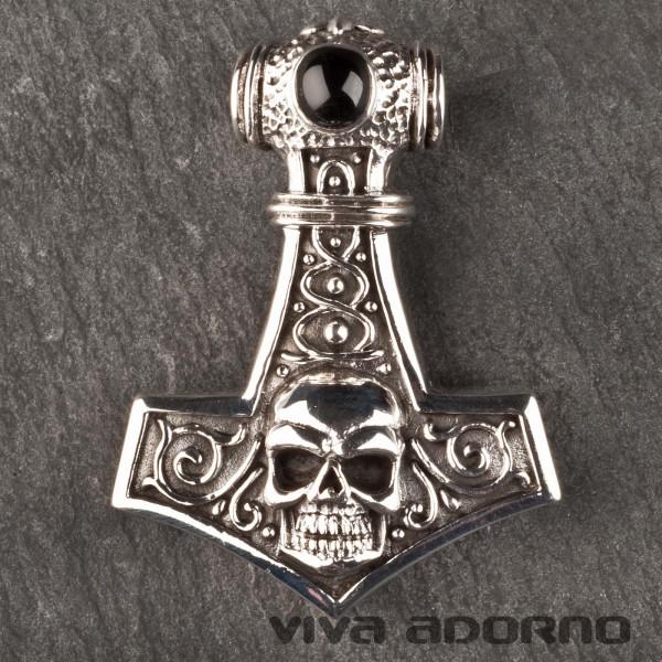 925 Silber Anhänger Thorshammer Mjölnir Totenkopf Thor s Hammer Skull Biker AS23