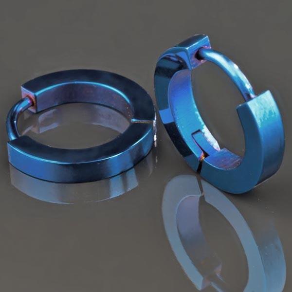 1 Paar Edelstahl Ohrringe Edelstahl Creolen blau Kreolen ES17