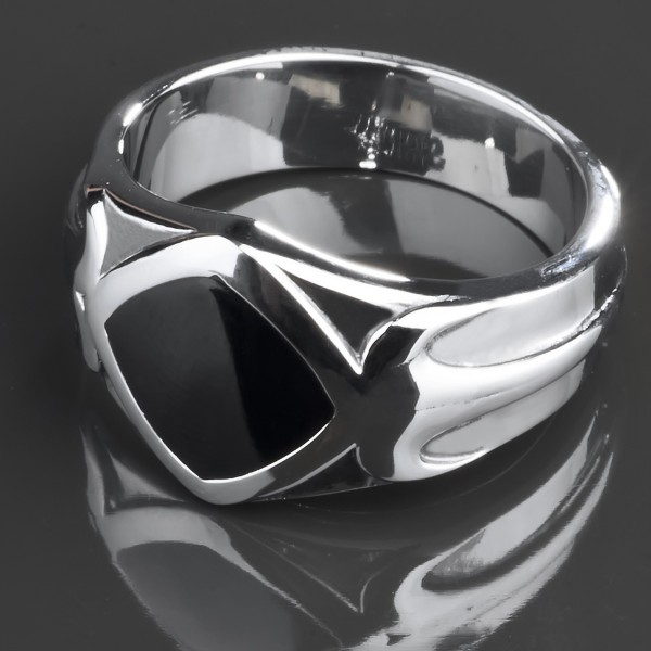 Edelstahl Ring Onyx Gothic Fingerring silber schwarz Rockabilly Biker RS35