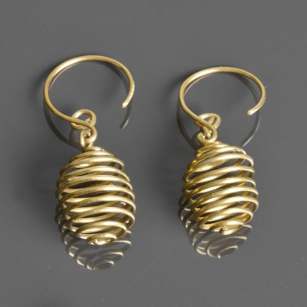 1 Paar Ohrringe Messing Ethno Vintage Antik Style Spiralen Goa Ohr Hänger ER5