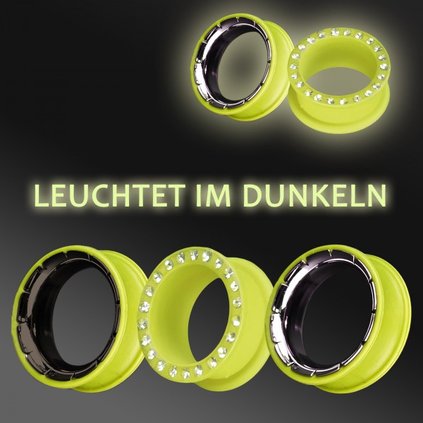 3-26mm Flesh Tunnel phosphoreszierend leuchtend SILIKON STAHL Zirkonia Plug Z211