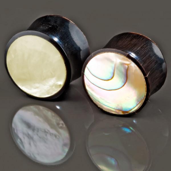 4-16mm Flesh Tunnel Plug Horn Perlmutt Abalone Muschel Ohr Piercing Paua Z140