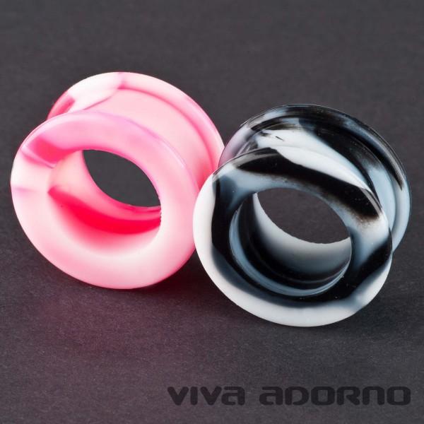 Flesh Tunnel Plug Silikon flexibel marmoriert 6-30mm Ohr Piercing Marmor Z107