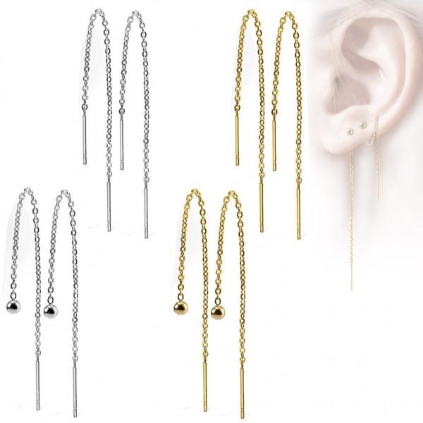 Damen Edelstahl Ohrringe Durchzieher Ketten Ohrhänger Kette Chirurgenstahl Z527