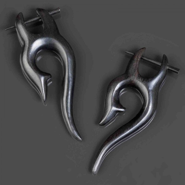 1 Paar Ethno Holz Ohrringe Holz Creolen Naturschmuck Ohr Piercing Stecker CE206