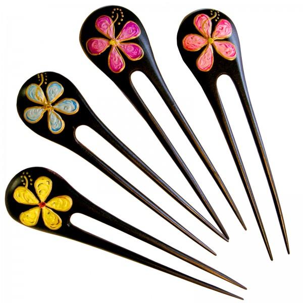 Holz Haarnadel Hawaii Blume Hibiskus Blüte Haarschmuck Nadel WHS26